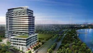 east arial view waters edge cove condos