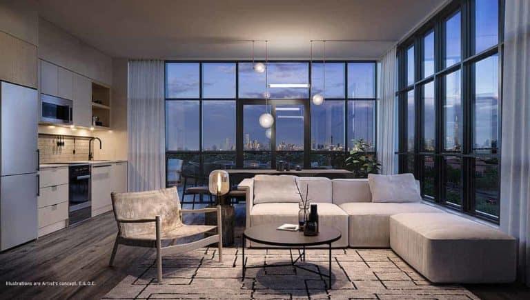 living room stockyards district condos