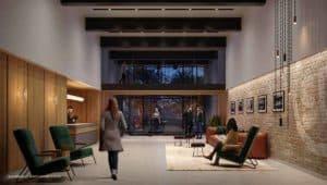 lobby entrance stockyards district condos