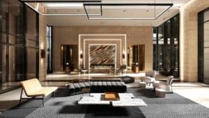 lobby fireplace evermore condos