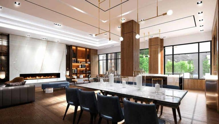 party room dinner table evermore condos
