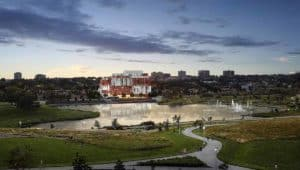 wide arial view keeley condos downsview