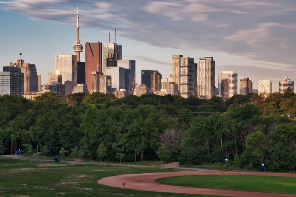 riverdale baseball diamond with view of CN Tower in toronto