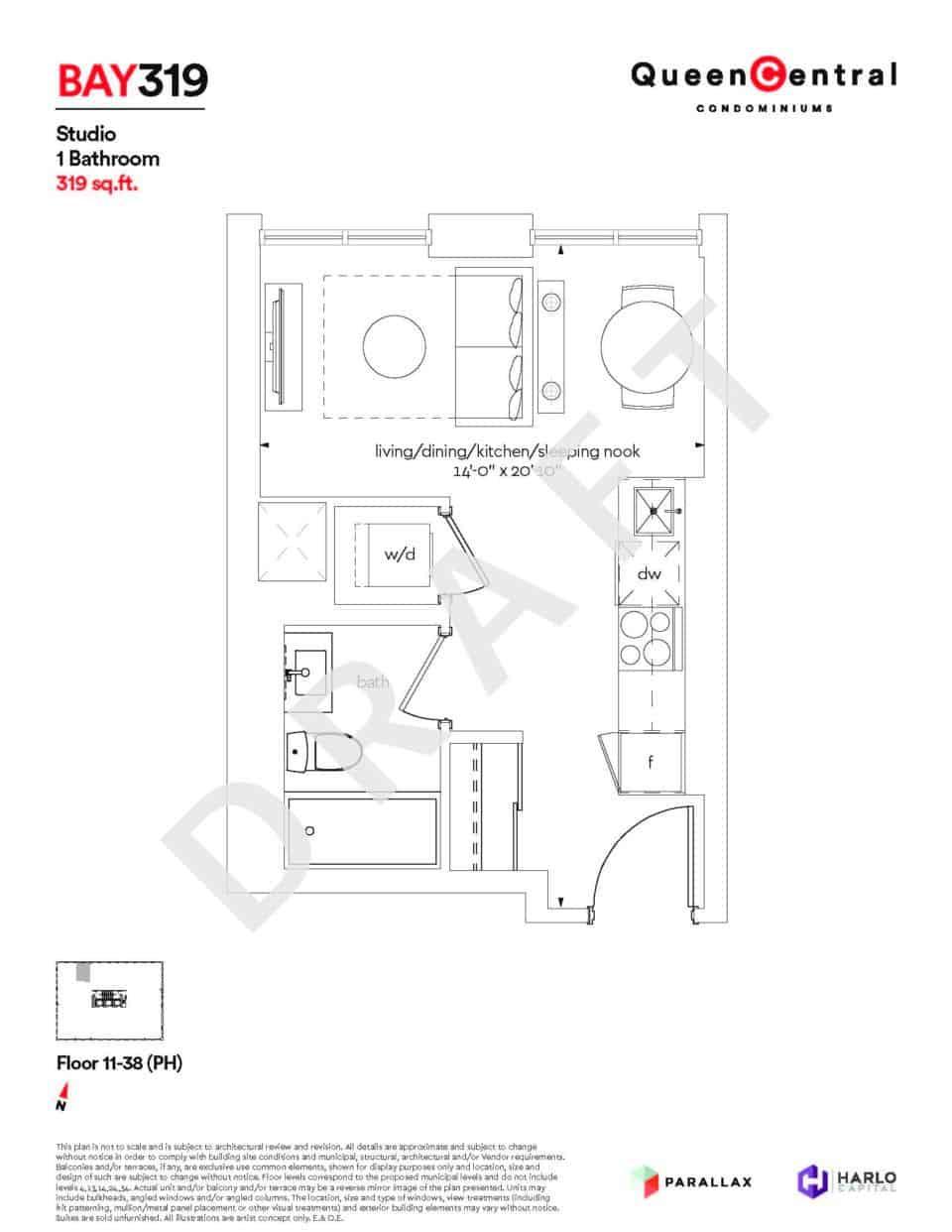 Queen Central Draft Floor Plans BAY 319