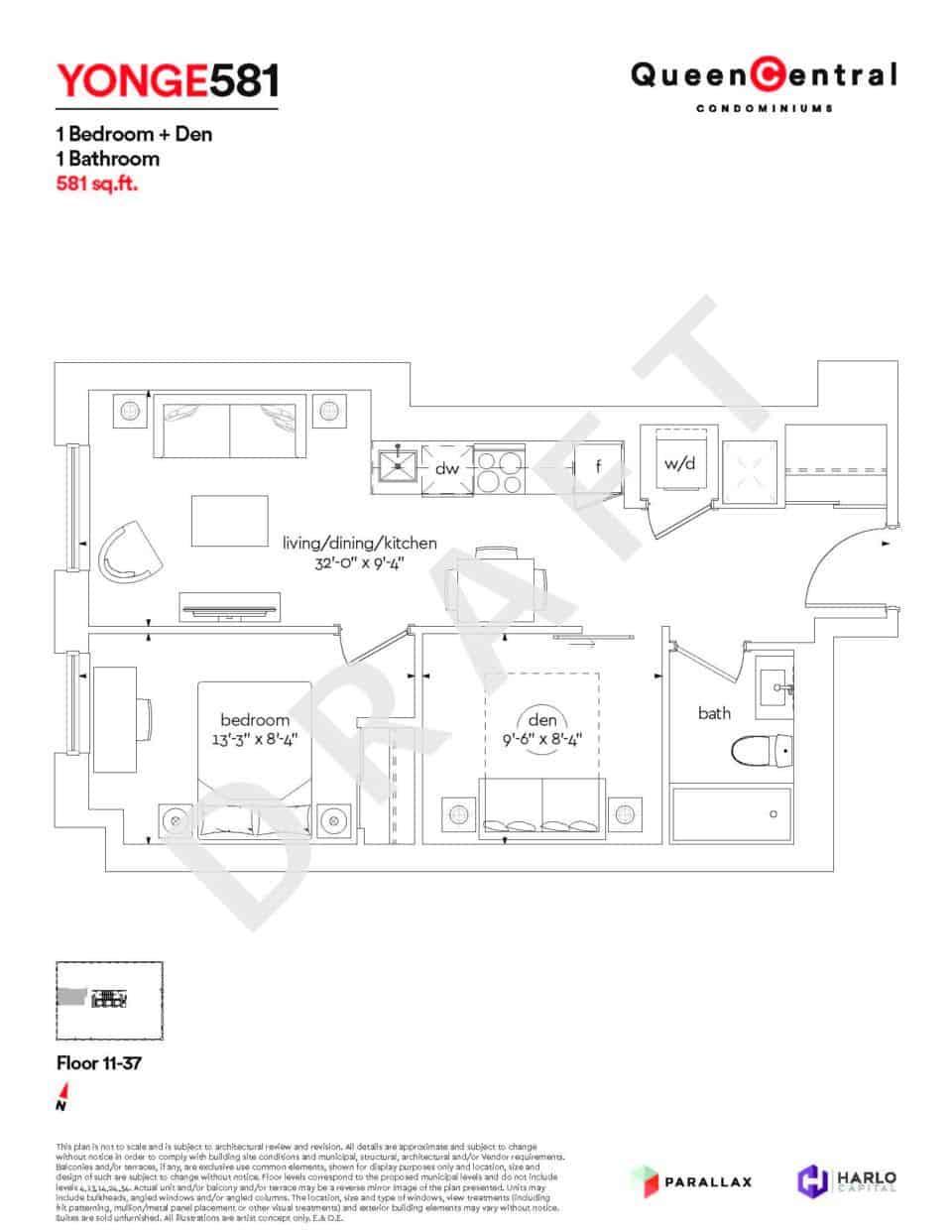 Queen Central Draft Floor Plans YONGE 581