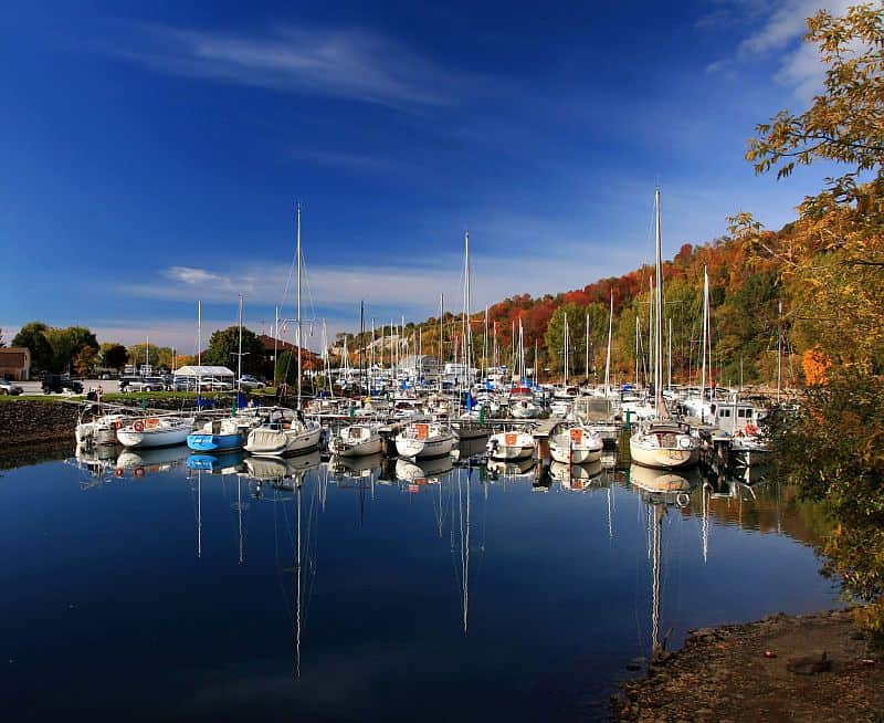 birch cliff marina with reflection