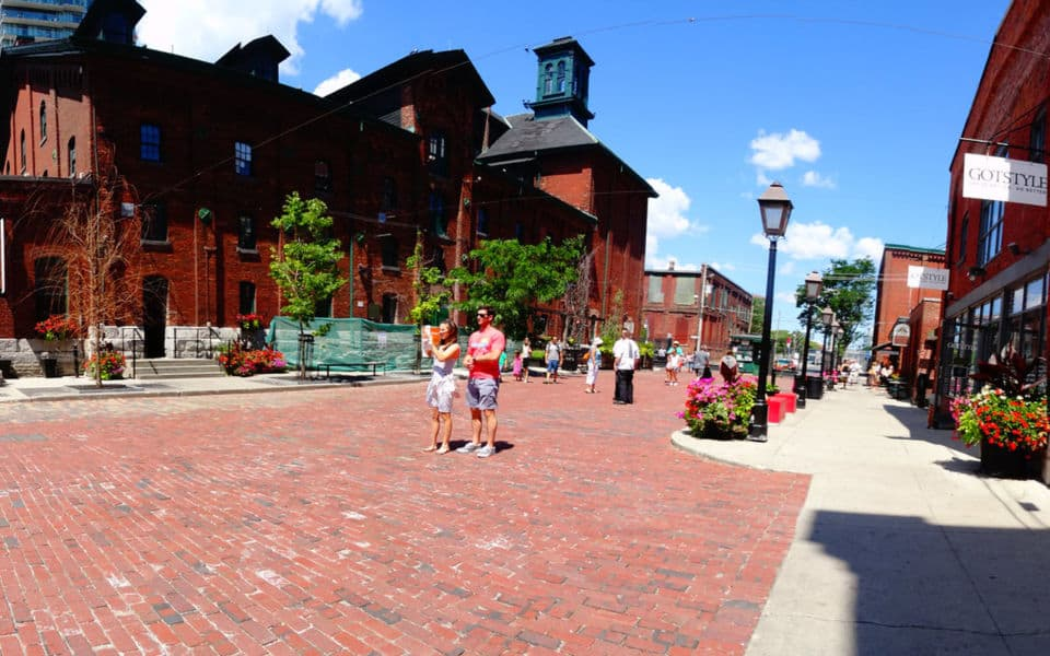 distillery district path with tourists