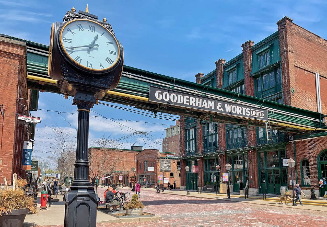 distillery district sign with old clock