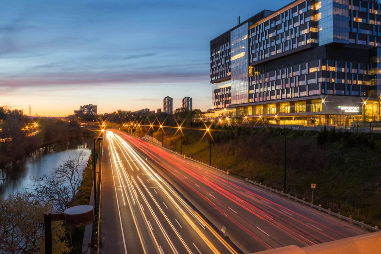 don valley parkway at gerrard street timelapse with view of condos