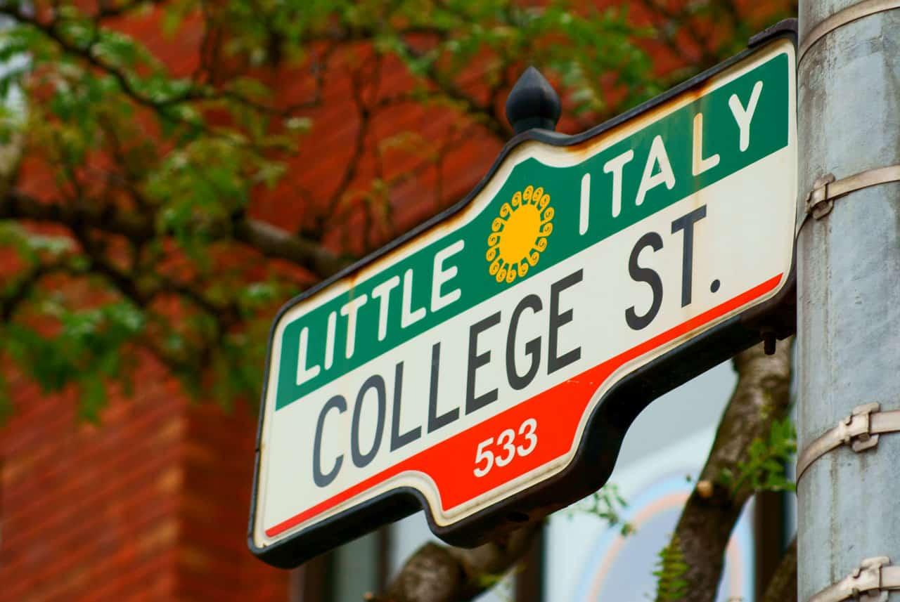 little italy toronto college street sign