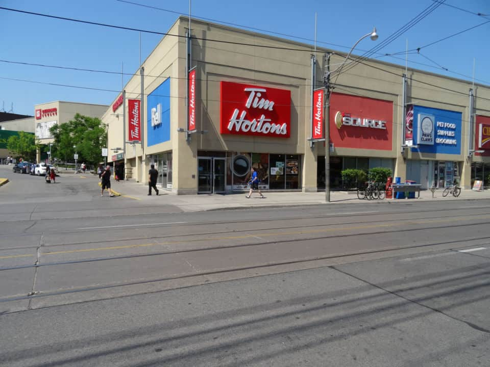 local retail plaza in leslieville toronto