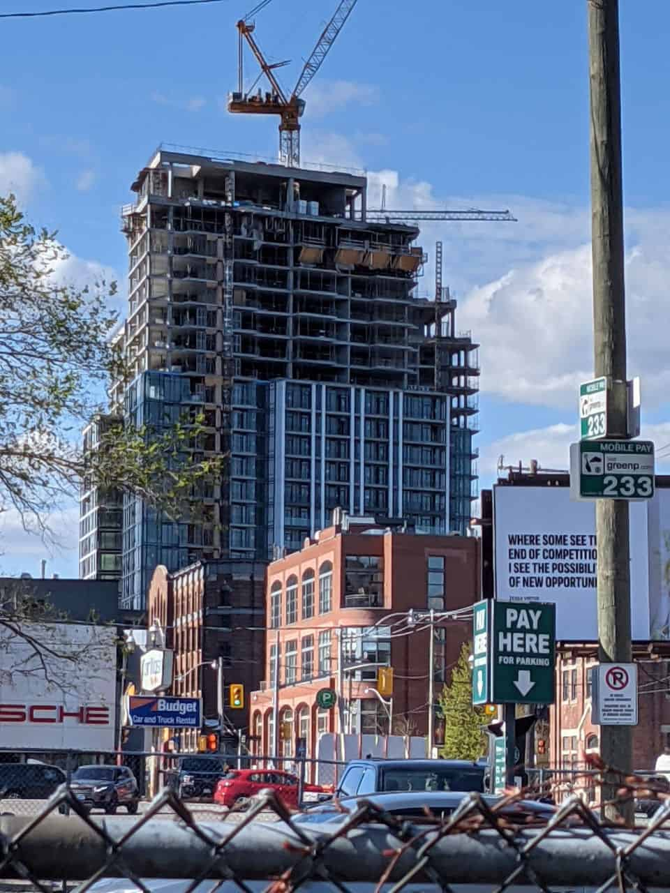 new condos being constructed near distillery district