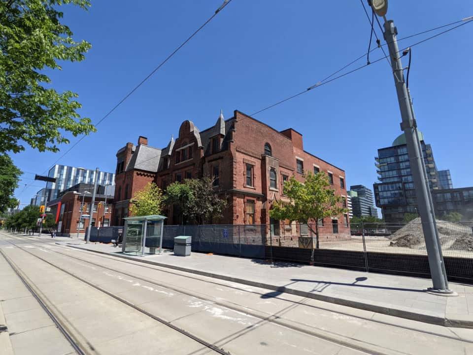 streetcar tracks near distillery district
