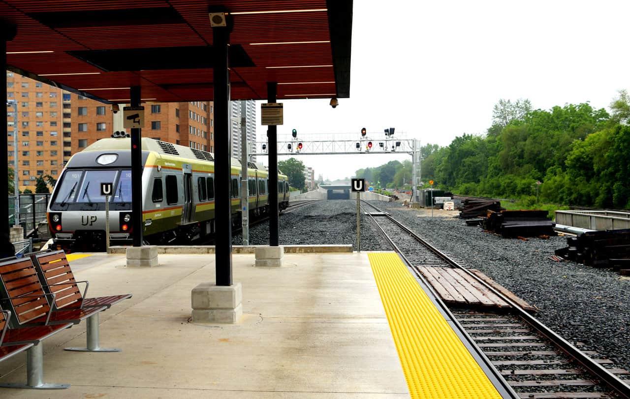 union pearson express train at weston road